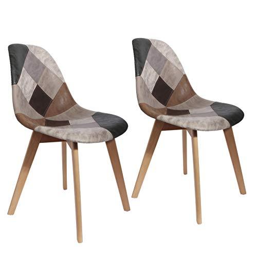 THE HOME DECO FACTORY HD6137 Juego de 2 sillas de salón, Comedor, Patchwork, Multicolor de Madera sintética escandinava, Poliuretano, Gris, 46x85x55 cm