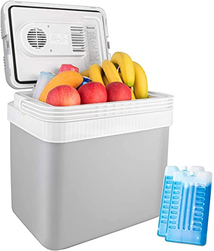 AstroAI Electric Cooler 26 Quarts/ 24 Liter, 12V DC Portable Thermoelectric Car Cooler for Beverage, Beer, Wine, Seafood, Fruits, Home and Travel with 2 Ice Packs (Gray)