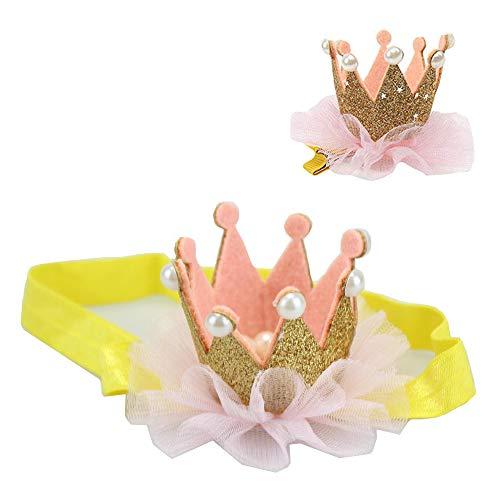 Bébé et Maman Accessoires cheveux fille brillante perle Couronne Bandeau & cheveux Set Clip, Kids Party Princesse Accessoires - Golden
