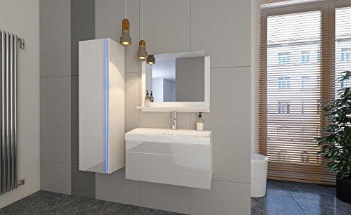 Home Direct Jenny 2 Bademöbel Badeschrank Badezimmer (Weiß MAT Base/Weiß HG Front, Möbel)