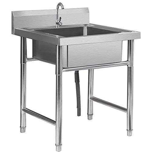 CHRYS Fregadero de acero inoxidable, lavadero de grado culinario, piscina portátil montada en el piso, fregadero de utilidad de pie para exterior, garaje, cocina, lavandería, lavadero