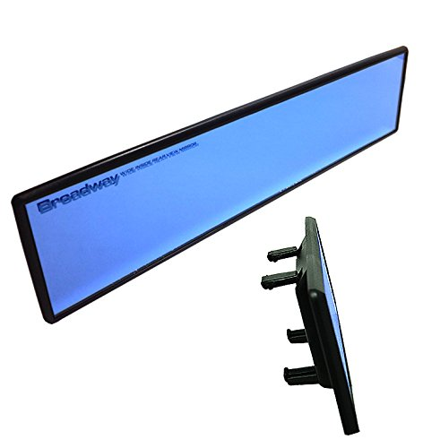 Broadway 240mm Clip On Rear View Flat Mirror Color: Blue Tint Universal Interior Blind Spot Easy Install Safety Product