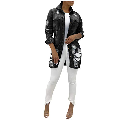 YTZL Jeansjas dames lange mouwen zomerjas dunne dames lange jeans jas dames damesjassen zomer dameskleding jas dames overgangsjas lichte zomerjas dames lang jeansjas vrouwen, A-zwart, XL