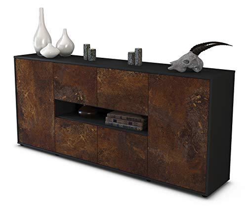 Stil.Zeit Sideboard Farina/Korpus anthrazit matt/Front Rost Industrie-Design (180x79x35cm) Push-to-Open Technik