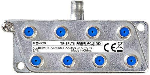 TronicXL Digital 8-Fach Antennen Kabel TV BK Weiche SAT Splitter HDTV F Stecker Verteiler Fernsehen Fernseher HD Switch achtfach Stammleitungsverteiler DVBC DVBT Radio UKW Unicable 4K HDTV 8fach
