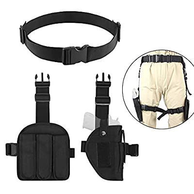 AIRSSON Drop Leg Holster, Tactical Pistol Holster,Adjustable Right Handed Gun Holster with Left Handed Magazine Pouch, Durable Utility Belt Sets 3-in-1
