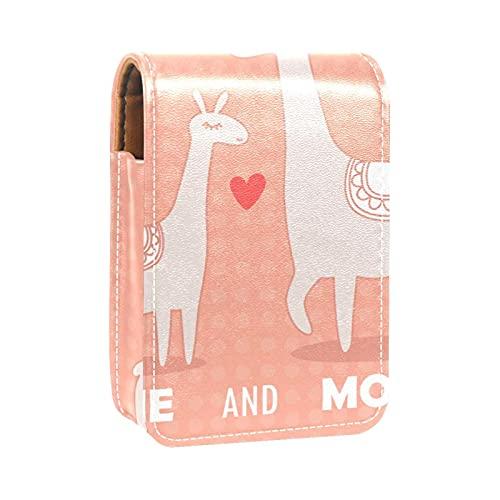 Estuche de lápiz Labial para Bolsa de Maquillaje para Exterior Mini Bolsa de Viaje Estuche cosmético Yo y mamá Linda Alpaca en el patrón de Lunares para Mujeres Regalos