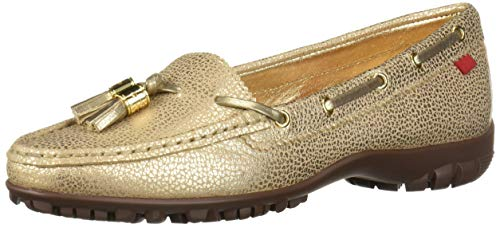 MARC JOSEPH NEW YORK Damen Womens Leather Shoe Echtleder Made in Brazil Spring Street Golf Schuh Sportschuh, Gold Maserung, 37.5 EU