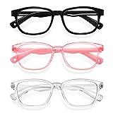 Blue Light Glasses for Kids 3 Pack Anti Glare & Eye Strain Glasses Computer TV Phone Tablets UV Protection Glasses for Kids Boys Girls Age 3-12(Black + Transparent + Transparent Pink)