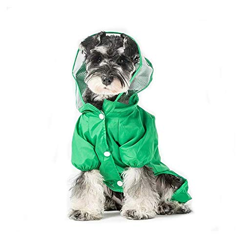 ccypet Small Dog Raincoat Poncho Water Proof Clothes with Hood Lightweight Rain Jacket-M(Bust:16.5'')
