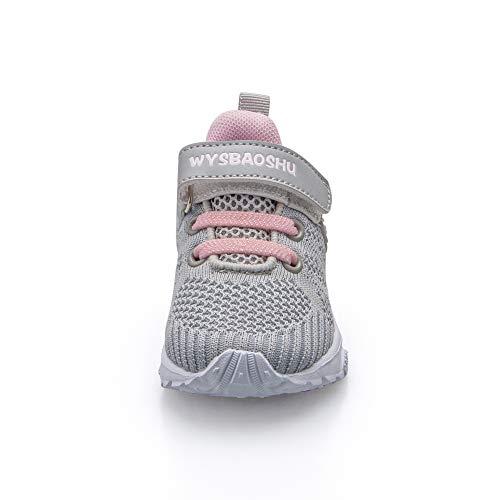 Zapatos Bebe Niña Deportivas Niña Velcro Chicas Tenis Bambas Zapatillas de Correr Unisex Calzado Gimnasio Caminar Diariamente Zapatos Atléticos Interior y Exterior Lindo Moda Gris Talla 21