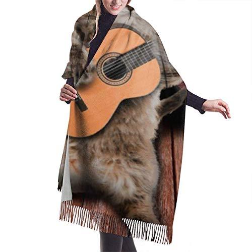 JONINOT Country Funny Guitarist Cat Play Gitarre Kaschmirschal Leichte Unisex Spring Soft Winterschals Fringe Shawl Wraps