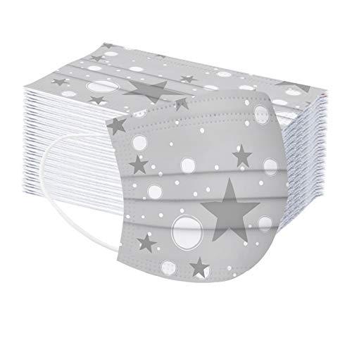 U.Expectating-Home 60 Stück Star Muster Einweg 3-lagig Face Mundmäskens für Kinder mit Muster Fashion Outdoor Elastic Ear Loop Face Bandanas