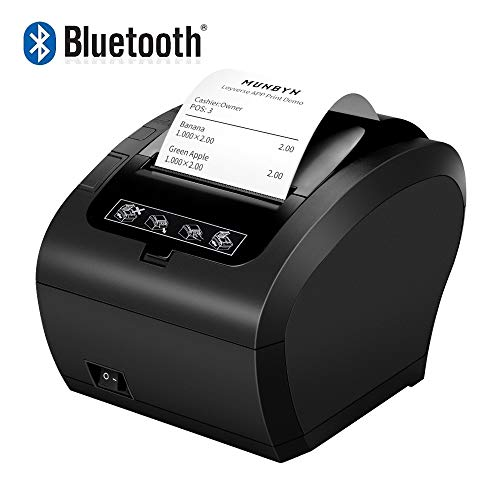 MUNBYN Impresora de Ticket Térmica Bluetooth, Impresora de Recibos 80mm, Ticketera Velocidad 300mm/s ESC/POS Compatible con Android/Windows, Negra