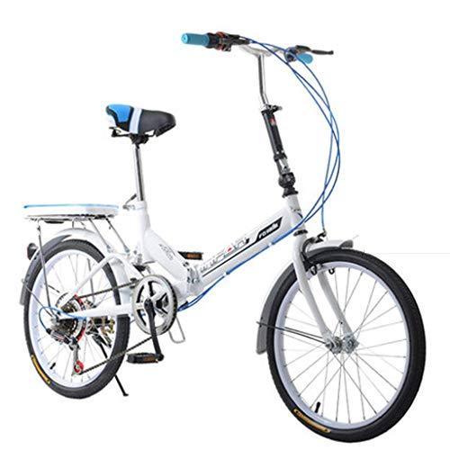 Qinf Klappräder Klapprad Damenrad 6-Gang 20-Zoll-Radsatz Fahrradrad mit Variabler Geschwindigkeit (Farbe: Weiß, Größe: 155 * 111 * 25 cm)