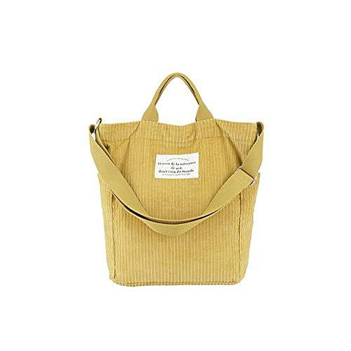 Hallolife Cord Tasche Damen Umhängetasche Shopper Casual Handtasche groß Chic Schulrucksack für Alltag Büro Schulausflug Einkauf, 38 x 35x 13cm