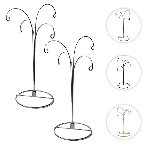 HOHIYA Hanging Ornament Display Stand Christmas Holder Hanger Bauble 4 Arms Chrome Plated 12inch Silver 2pcs