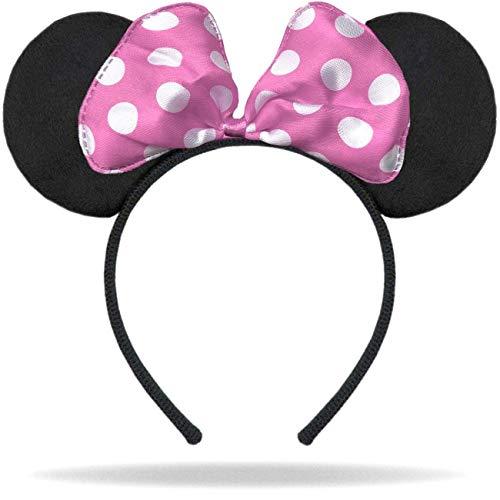 Hatstar Haarreifen mit Maus Ohren   Mouse Ears in schwarz mit Schleife in rosa und weißen Punkten für Kinder und Erwachsene …