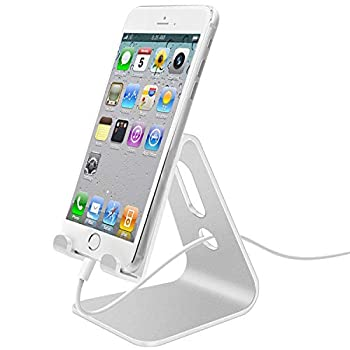 LLSME Cell Phone Stand Aluminum Desktop Phone Holder Cradle Dock Compatible with iPhone and Android Phone Silver