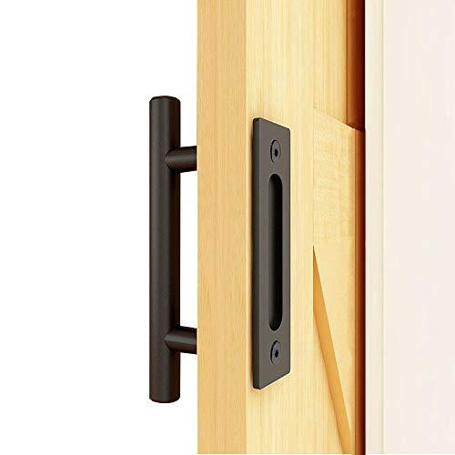 TSMST - Tirador para puerta corredera de madera, color negro, 24 cm
