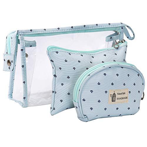 Kulturbeutel Transparent für Reisen 3 Stück, Wasserdicht PVC Kulturtasche für Frauen Kosmetiktasche Make-Up Tasche Kleine Brieftasche mit Reißverschluss, Blau
