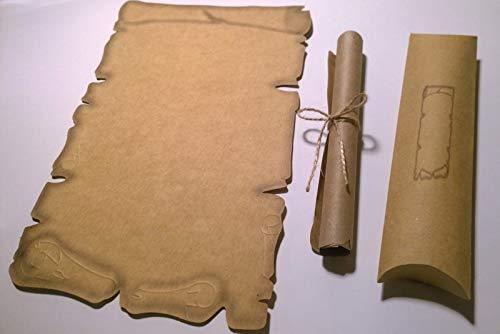 35 rollos de papel con letras, 35 cajas para cojines, papel pergamino medieval, para certificados, vales, invitaciones de boda, cumpleaños