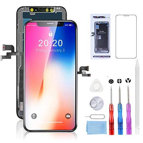 Beefix Pantalla para iPhone X, Táctil LCD Reemplazo con Herramientas de Reparación (con Vidrio Templado, con Tarjeta de Placa de Tornillo)