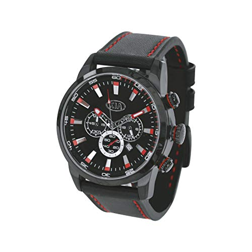 Kia Herren Armbanduhr, Chronograph aus Edelstahl mit schwarzem Lederarmband