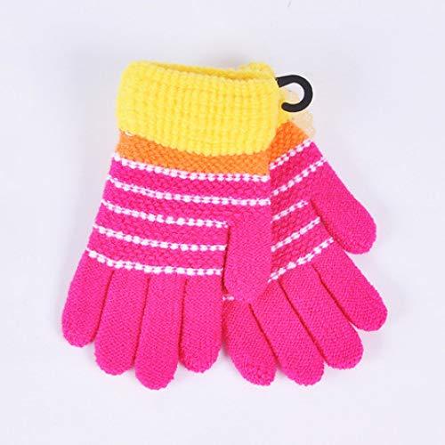 SUNHAO Kinderen warme handschoenen Gebreide wol vijf vingers Anti-naald brede mond vinger handschoenen Winter outdoor afstandsbediening B