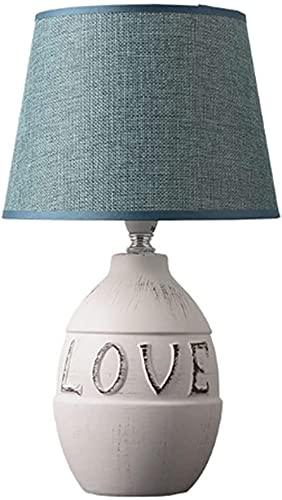 Lámparas de escritorio Lámpara de mesa cálida de cerámica Pantalla de tela Nórdico Minimalista Creativo Sala de estar Estudio Dormitorio Lámpara de noche E14 Iluminación interior (Tamaño: B-20 * 35cm)