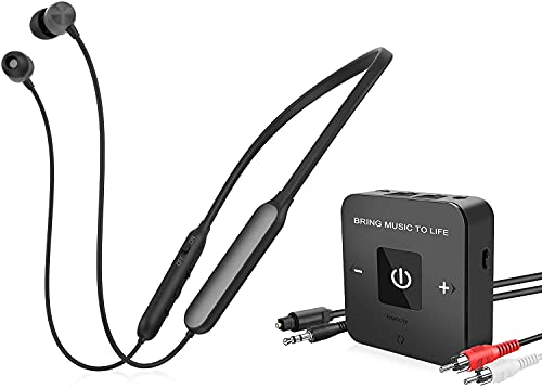 Friencity Wireless Headphones Earbuds for TV Watching w/Bluetooth Transmitter(Optical AUX RCA), Rechargeable Digital Stereo Headset for Seniors, Plug & Play, No Audio Delay, Volume Control