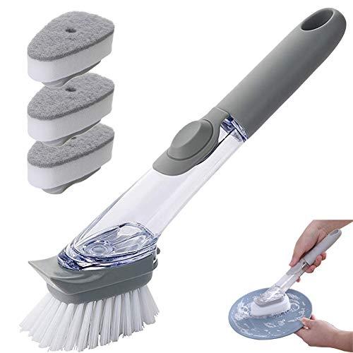 Cepillo De Limpieza 3 En 1 Con Cepillo De Limpieza Con Dispensador De Detergente, Con 3 Esponjas De Limpieza y Una Olla De Repuesto y Un Cepillo Para Platos (Gris)