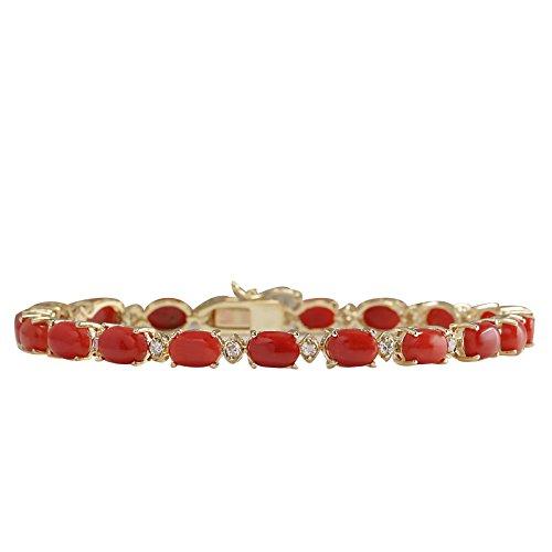 17.47carati naturale corallo rosso e con bracciale tennis in oro giallo 14kt lusso per le donne
