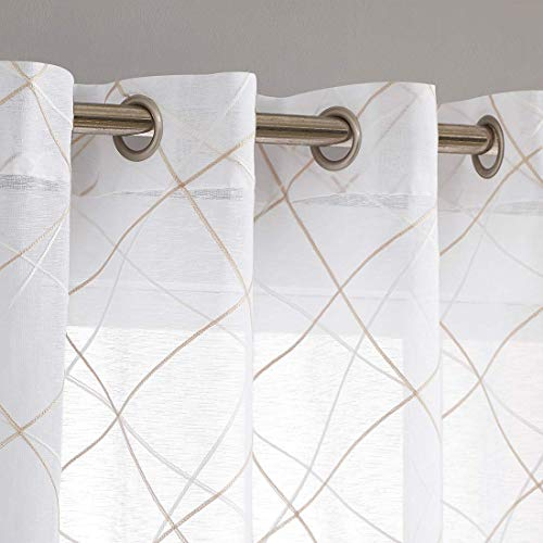 """White Sheer Curtains 95 Inches Long for Living Room Bedroom, Beige White Moroccan Embroidered on Grommet Top Voile Drapes, Light Filtering 54"""" W Window Treatments Set 2 Panels"""