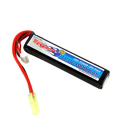 Tenergy Airsoft Battery 11.1V 1000mAh High Capacity LiPo Stick Battery Pack 20C Rechargeable Hobby Battery Pack for AEGs w/Mini Tamiya Connector