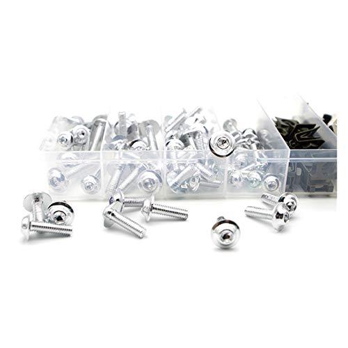 Zhbqcmou CNC Alloy Motorcycle Fairing Bolts Kit Bodywork Screws Nut for Honda cb190r CBF 125 cb600 cb190r cr 250 cb650f HNZHB (Color : Silver)