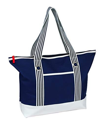 Trendige Strandtasche/Weekender/Shopper/Badetasche-blau/weiß marine