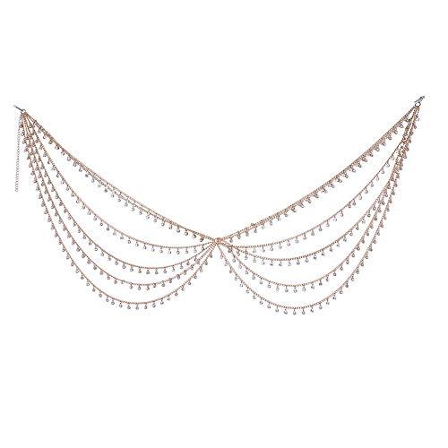 Tassel Belly Cadenas de Vientre Moda Beach Disfraz Accesorio Cadena Corporal de Dama Elegante (Color : Gold, Size : Free Size)