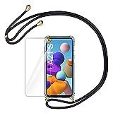 AROYI Handykette Handyhülle & Panzerglas Schutzfolie kompatibel mit Samsung Galaxy A21S Hülle mit Kordel zum Umhängen Necklace Hülle mit Band Transparent Hülle Schwarz Gold