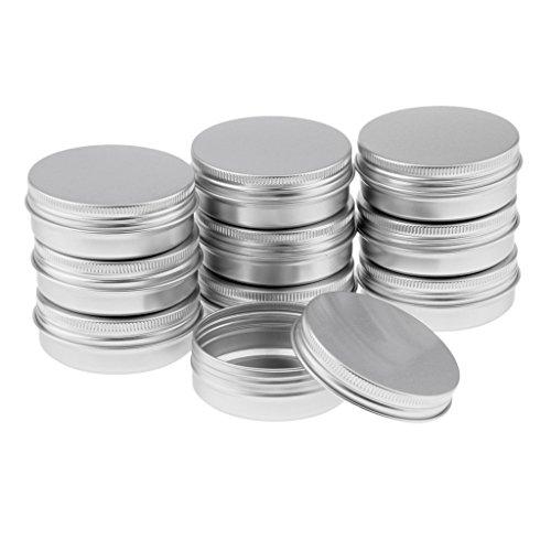 Colcolo 10 Piezas de Aluminio Vacío Cosmético Tarro de Lata Recipiente de Lata Tapa de Tornillo Artesanía - 10x60ml plata