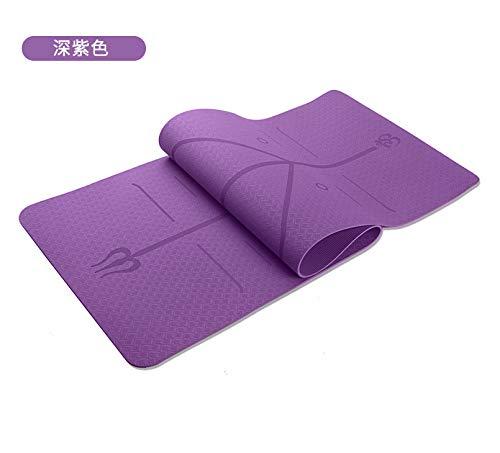 Nobranded TPE Estera De Yoga Línea De Postura De Una Sola Capa Monocromática 6mm Estera De Yoga Antideslizante Estera De Fitness Morado Oscuro