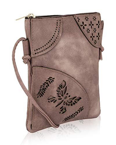 Mia K Collection Crossbody Bags for Women Handbag, PU Leather Crossover, Small Shoulder Side Messenger Purse Rose