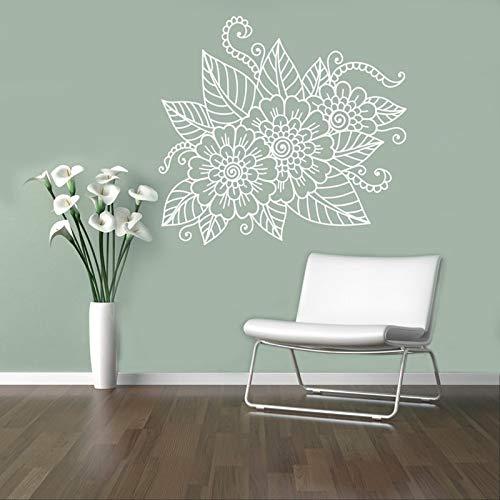 JXWR Abstrakte Blume Wandtattoos handbemalte Mehndi Wandtattoos Henna Henna dekorative Wandtattoos religiöse Heimtextilien 62x57 cm