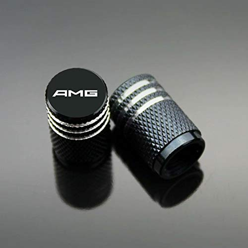 Autoreifen-Ventilkappen, Carbon-Titan, schwarz, staubdicht, verhindern Korrosion, luftdicht, schützen Ihren Ventilschaft, AMG, 4 Stück/Set, Schwarz
