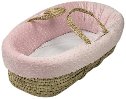 Baby Doll Bedding Heavenly Soft Toy Doll Moses Basket. Doll Carrier for Realistic Pretend Play for Little Girls. Fits American Girl or Any Doll up to 18', Minky Dot Pink