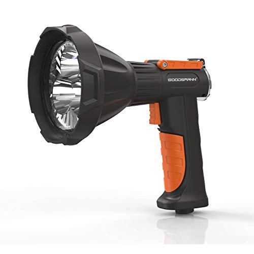 GOODSMANN Handheld Rechargeable Spotlight 4000 Lumen CREE LED Portable Work Light with Metal Rotate Clip and Red Lens Filter, 50 Watt Flashlight for Camping Hiking
