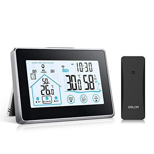 vonivi Wetterstation Funk mit Außensensor, Digital Thermometer Hygrometer Innen und Außen Raumthermometer Hydrometer Feuchtigkeit mit Wettervorhersage, Uhrzeitanzeige und Nachtlicht-Schwarz