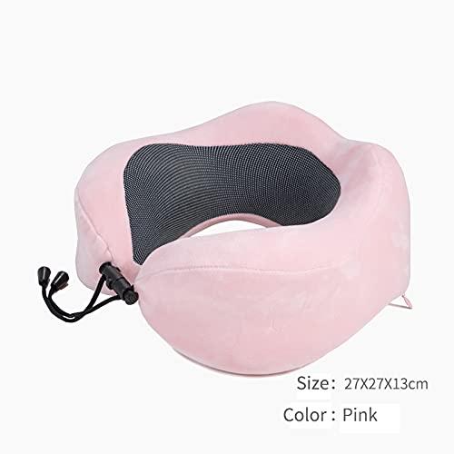Meijin Almohada de viaje en forma de U para almohada de cuello de espuma de avión, accesorios de viaje, forros de cama, cómodas almohadas para dormir textiles para el hogar (color rosa