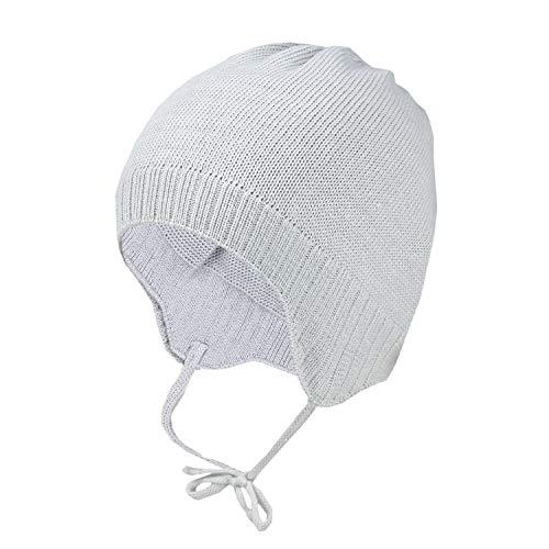 TupTam Baby Unisex Erstlingsmütze Strickmütze zum Binden, Farbe: Grau Meliert,...