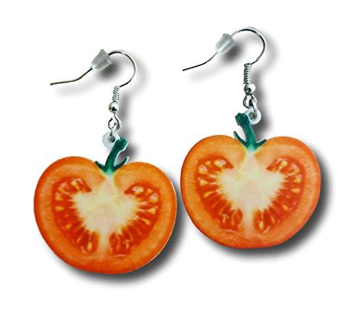 Pashal Realistic Vegetable Tomato Slice Acrylic Drop Earrings
